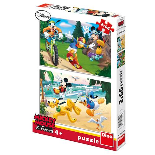 Puzzle Disney Dino Mickey Mouse sportuje, 2 x 66 dílků