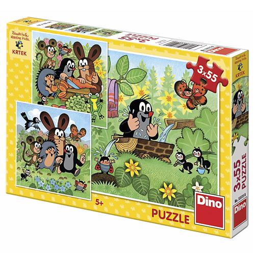 Puzzle Dino Krtek a zvířátka, 3 x 55 dílků