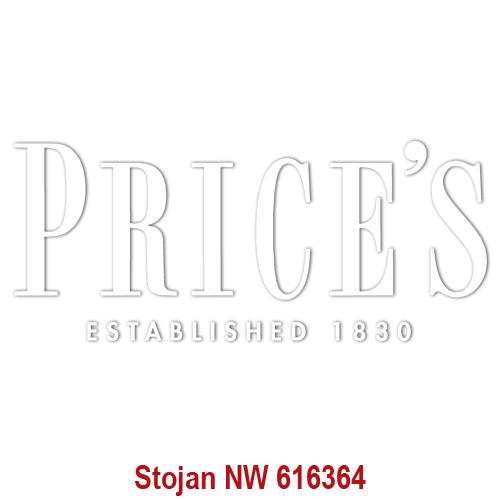 Price's Candles POS | Samolepa Price´s Bílé písmo, 337 x 142 mm