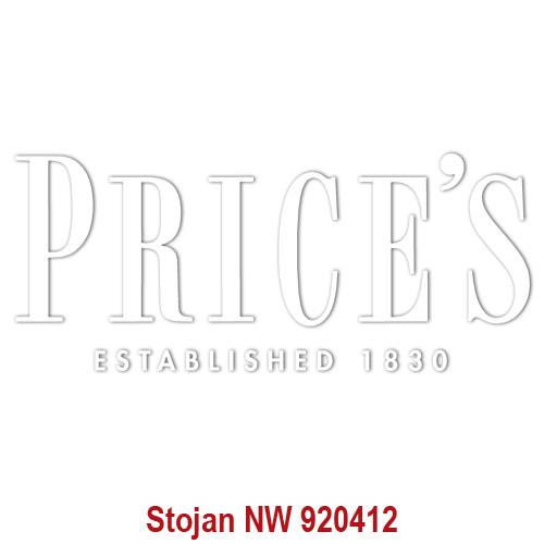 Price's Candles POS | Samolepa Price´s Bílé písmo, 225 x 95 mm