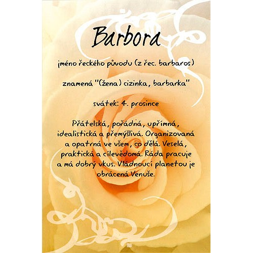 přání k svátku barbora Blahopřání a přání do obálky | Přání Kouzlo tvého jména  přání k svátku barbora